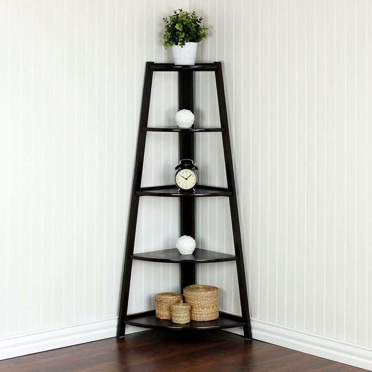 5 tier corner shelf stand wood display storage home