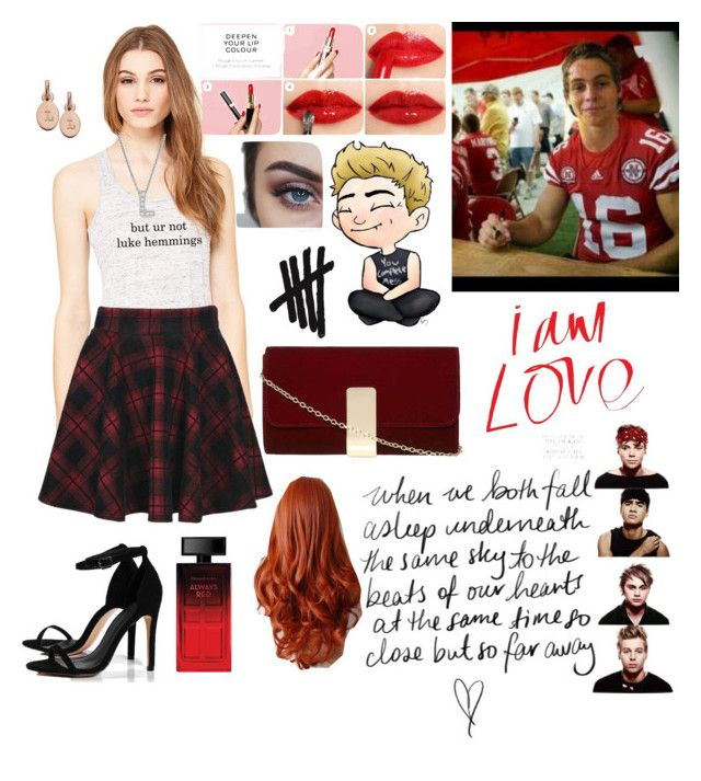 """Red red red."" by chechylmiliani on Polyvore featuring art, red, 5sos, fangirl, dating and lukehemmings"