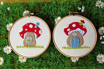 Appliqued Toadstool Houses