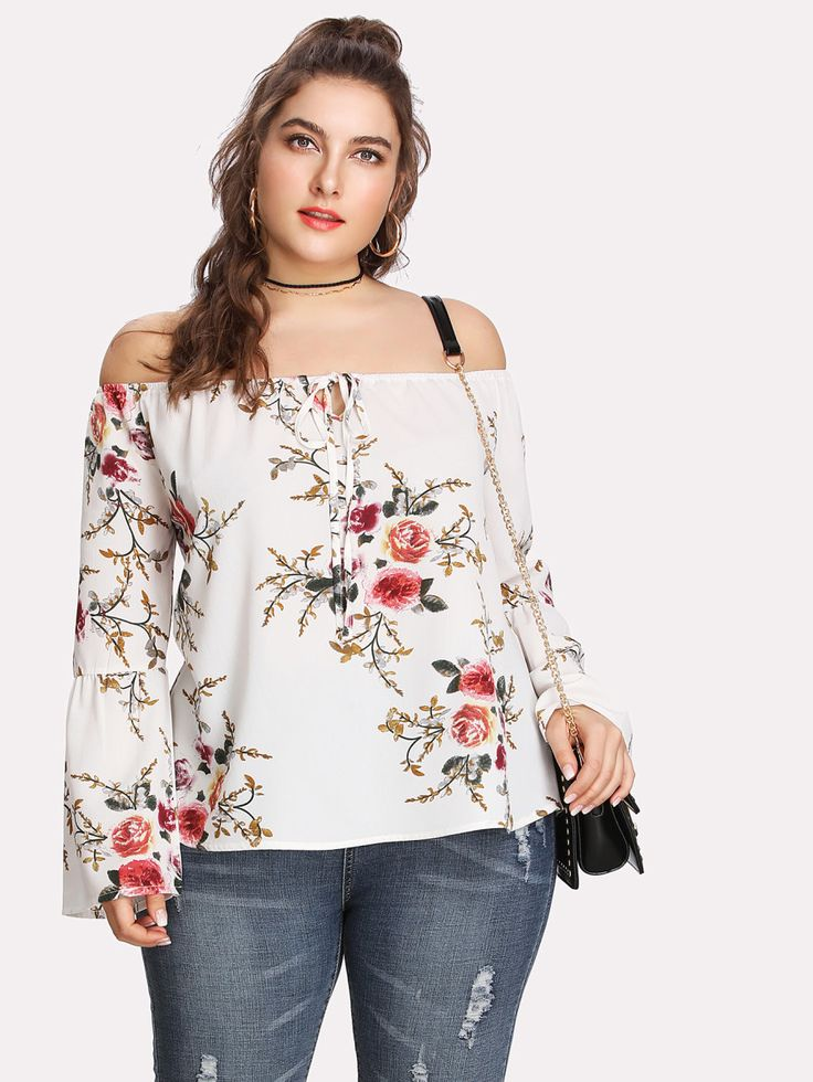 Shop Trumpet Sleeve Tie Front Floral Bardot Top online. SheIn offers Trumpet Sleeve Tie Front Floral Bardot Top & more to fit your fashionable needs.