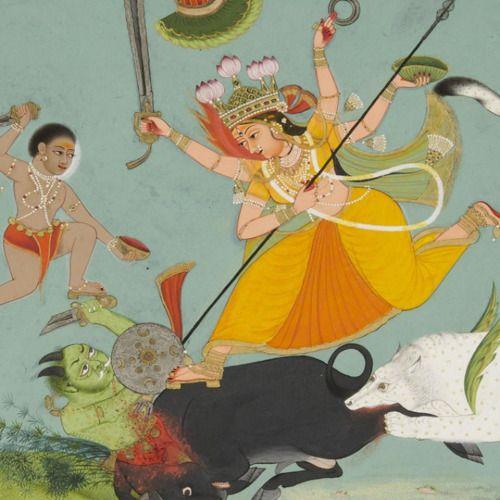 The Great Goddess Durga Slaying the Buffalo Demon - India, 17th century
