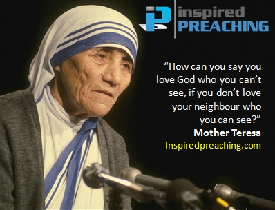 A captivating clip from the archives; Mother Teresa preaches about the power of God's love, and how it should be expressed to a lost world through the life of a believer. http://inspiredpreaching.com/gods-love-looks-like-this-mother-teresa/