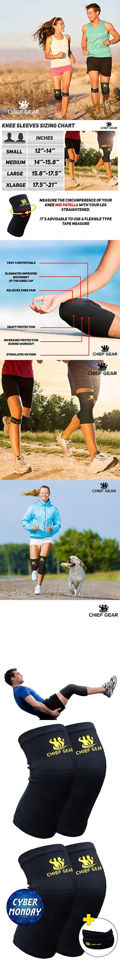 Knee Compression Sleeves (1 Pair) with Free 1 Patella Knee Brace By Chief Gear- Knee Support & Compression, Protects Patella, Fast Recovery & Pain Relief- Both Women & Men