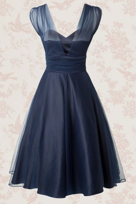 50's Sophie Occasion Swing Dress in Navy