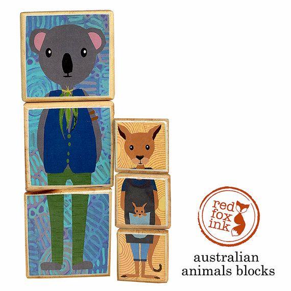 Australian Animal wooden block puzzle toy game: Koala by redfoxink