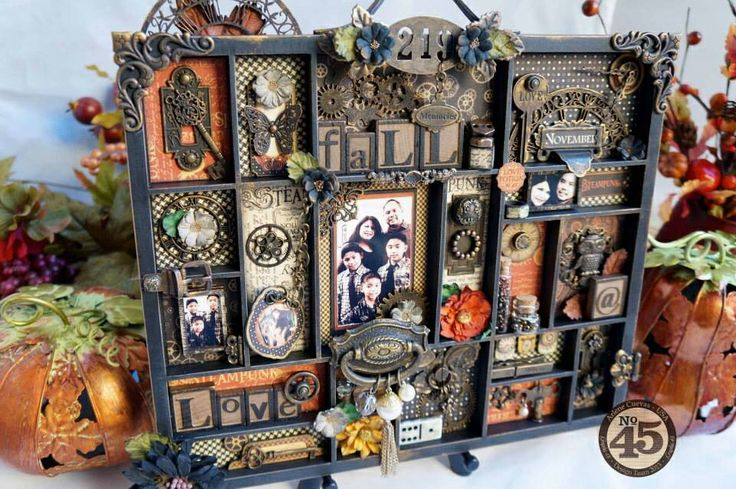 """Altered """"Fall"""" printers tray featuring Graphic 45's Steampunk Spells collection.  By Arlene Butterflykisses"""