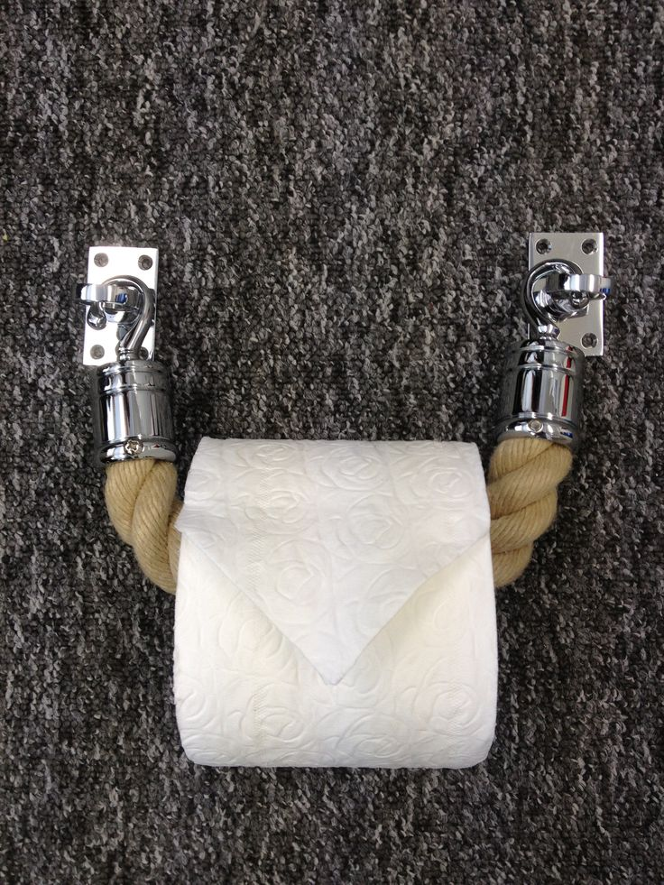 Designer toilet roll holder - from our Natural Rope with Chrome hooks http://crowdcontrol-systems.com.au/retractable-crowd-control-barriers