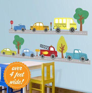Cars & Trucks Wall Decals contemporary decals. Gr8 idea to compliment painting. Website has more to choose from.