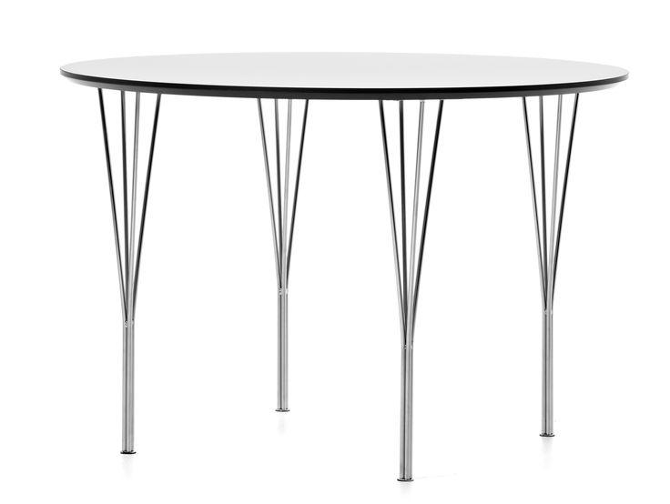 Ett stabilt matbord med bordsskiva i vit högtryckslaminat med svart kant och kromade spännben.