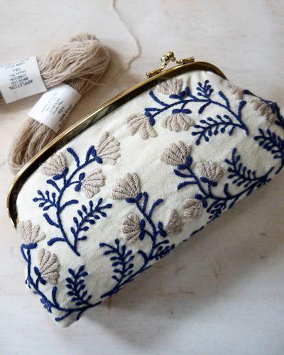 Beautiful little clutch. Like the colors. Fun embroidery project, perhaps? Gotta find a clutch…..