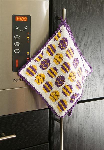 Tema 27: Modell 10 Grytekluter m/ egg #strikk #interiør #påske