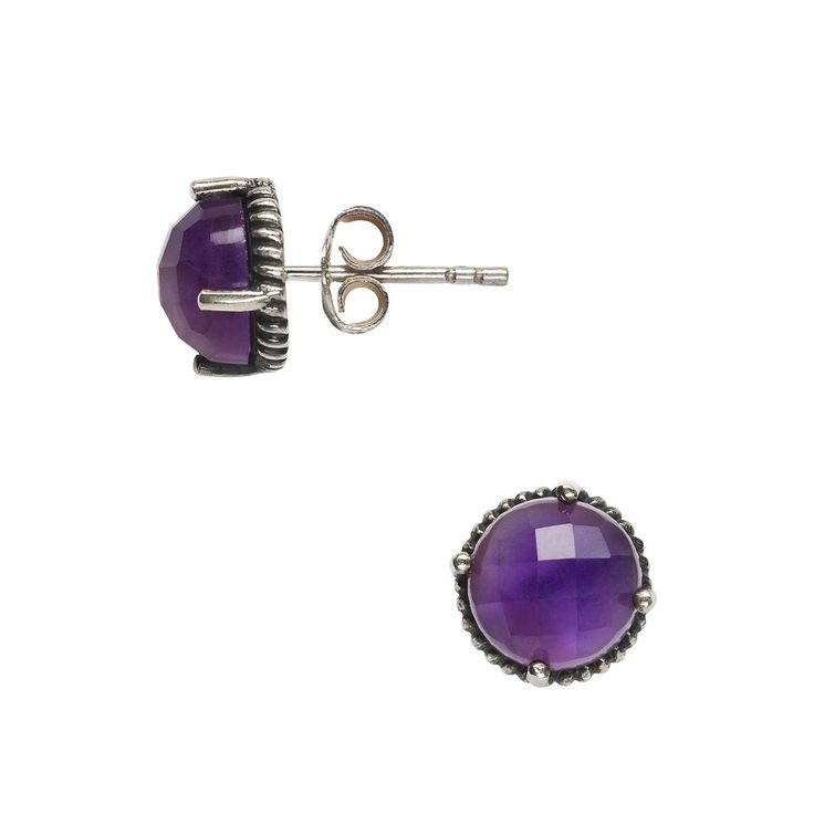 - Beautiful round amethyst stud earrings crafted in sterling silver - 9mm in diameter - Gross weight approx 4 cts