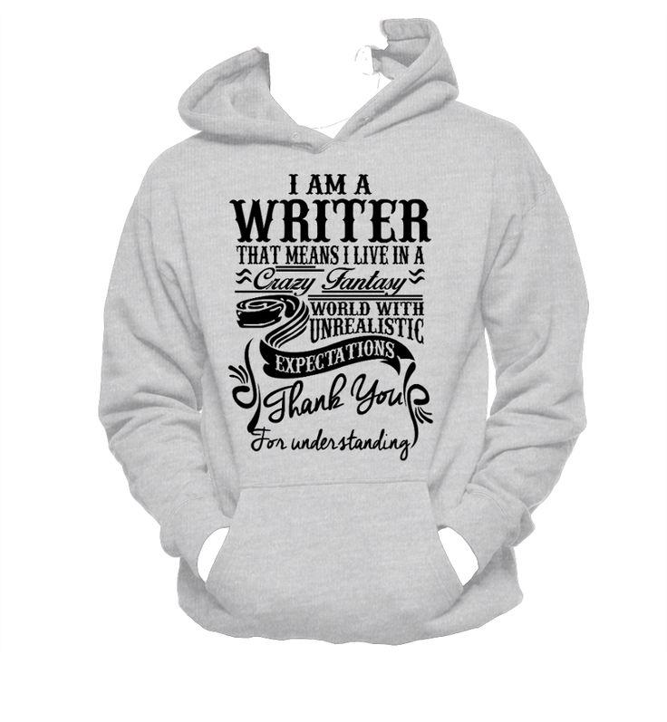 I Am A Writer, Novelist, Blogger Unisex Hoodie,Nerd Girl Tees, Geek Chic,Typography,pop culture, geek chic