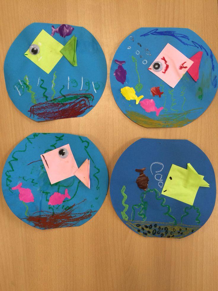 Vissenkom, groep 1, kleuters, knutselen, thema dieren, huisdier, vissen, aquarium