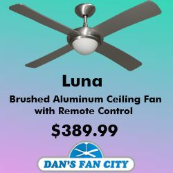 Luna 52 Brushed Aluminum Ceiling Fan With Remote Control