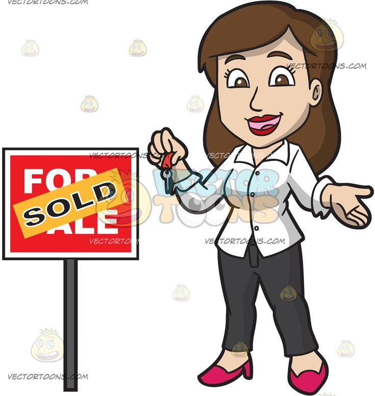 A Female Real Estate Agent Successfully Sells A House:   A woman with brown hair wearing a white blouse black pants red shoes smiles while holding a key in her right hand as she stands beside a red for sale sign that has an orange sold sticker plastered on it