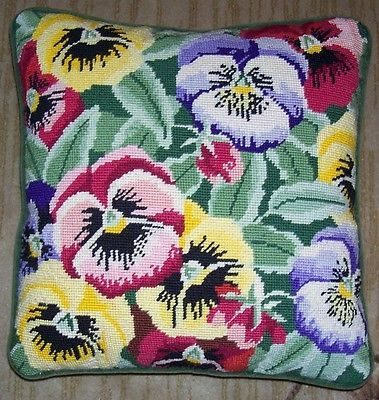 """Gorgeous Pansies 15"""" x 15"""" New Completed/Finished Needlepoint Canvas HM Pillow"""