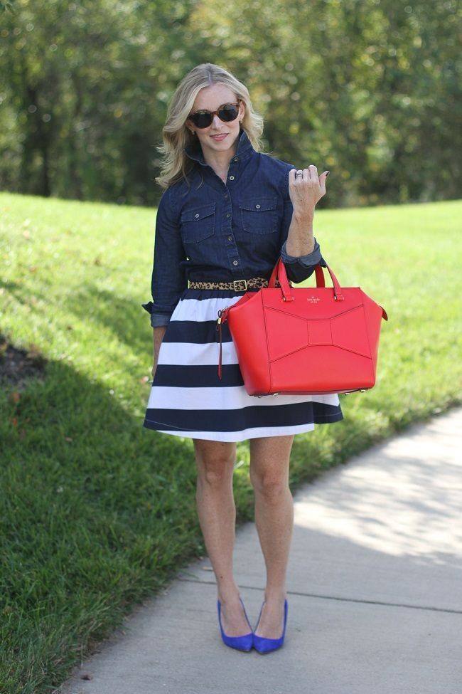 Fall stripes! http://www.simplylulustyle.com/2013/10/mixed-up-blue.html