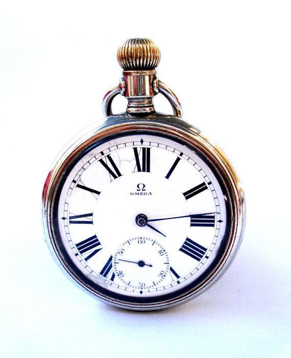 Antiguo Reloj De Bolsillo Suizo OMEGA Open Face por shopvintage1                                                                                                                                                      Más