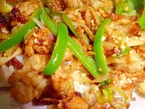 ピリ辛野菜と豚肉丼