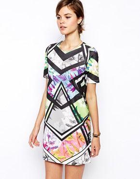 Wear Your ART.ASOS Shift Dress in Bright Floral Geo Print #BarcelonaNights