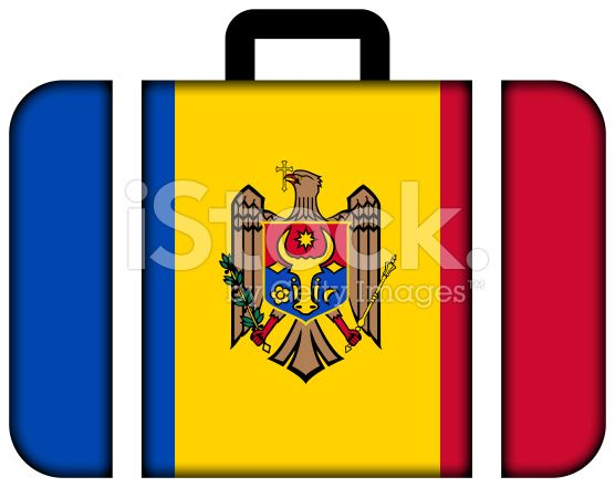 Suitcase with Moldova Flag royalty-free stock photo