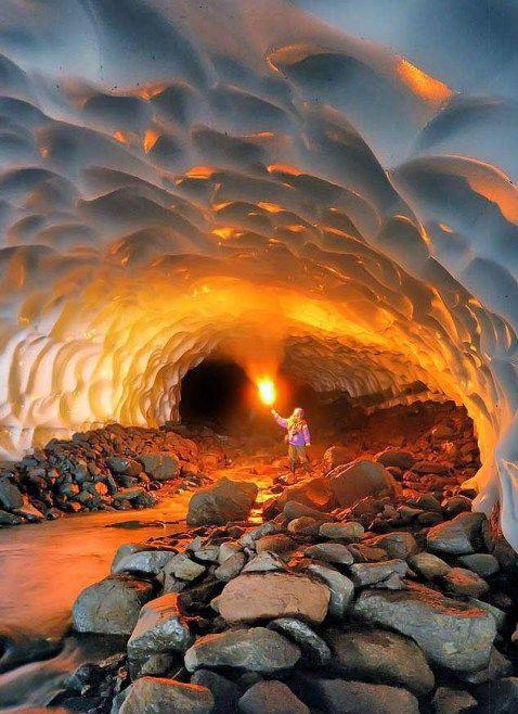 Ice Cave Inside The Mutnovsky Volcano, Kamchatka, Russia