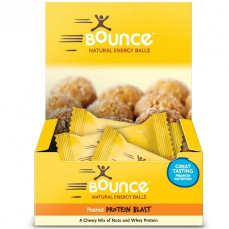 Bounce Natural Energy Balls Peanut Protein Blast 12 Balls X 49g Each at Megavitamins Supplement Store Australia.Peanut Protein Blast with low GI peanuts & contain 15g of whey protein per Ball. Peanut Protein Blast provides high quality protein.
