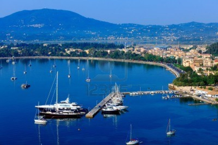 Aerial view from Old fortress on the marina with yachts, Kerkyra, Corfu island, Greece Stock Photo