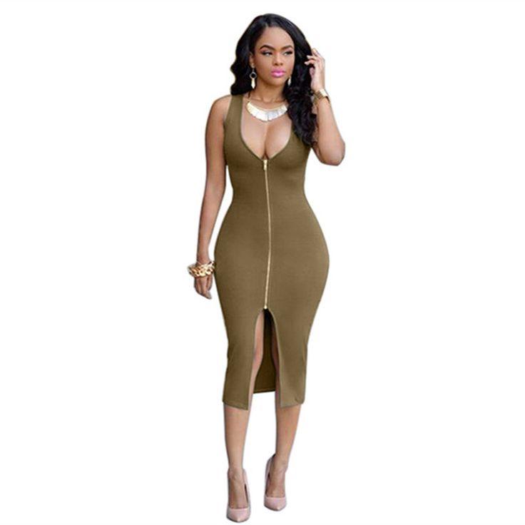 Women Zipper Front High Split Plunge Deep V-neck Sexy Club Dress Bodycon Bandage Package Hip Midi Sexy Night Club Dresses