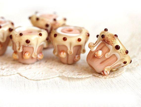 Cupcake bead Handmade Lampwork glass bead Creamy by MayaHoney  #forsale #etsy #glass #handmade  #beaded #homemade #shopping #handcrafted #forgirl #jewelry #lampwork #fashion #mayahoney #jewelrymaking #making #beads #cupcake #sweet #cute