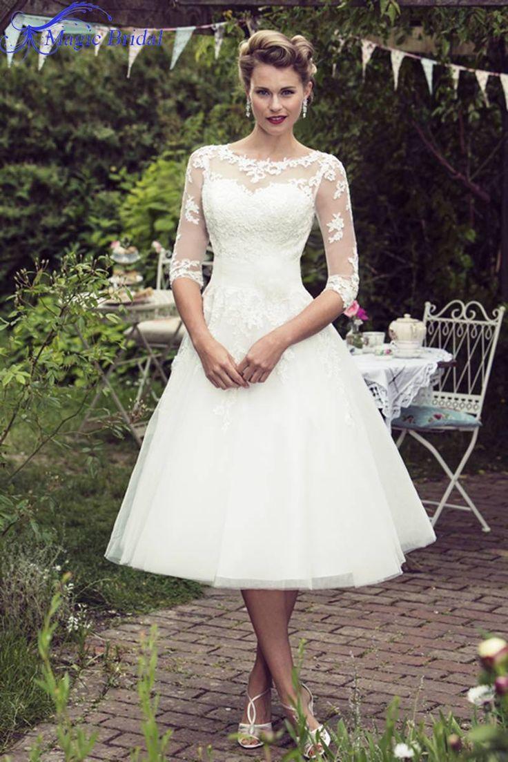 stay Vintage Style Half Sleeve Lace Tulle Tea Length Short Wedding Dresses Bridal Gowns Vestidos De Noiva Custom Made shoes