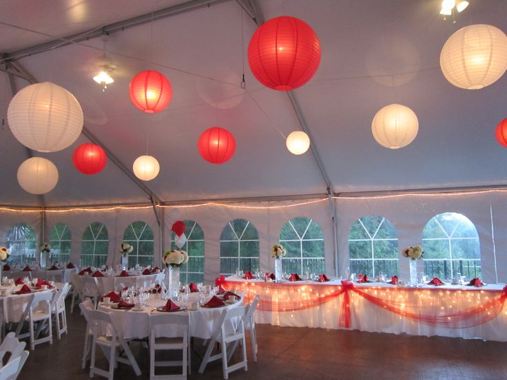 Red and White lanterns in the tent at Wickham Park in Manchester, CT.