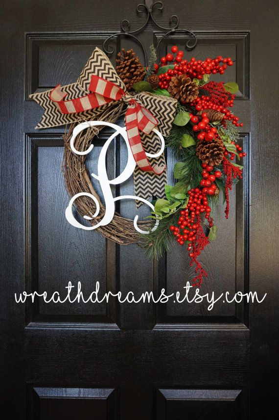 LIMITED QTY Christmas Grapevine Wreath with by WreathDreams