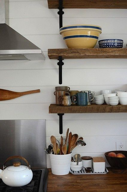 kitchen shelves - open shelving (wood and iron, love) - stainless steel sheeting backsplash and natural wood countertops, all tied together with white subway tile --- my dream kitchen.