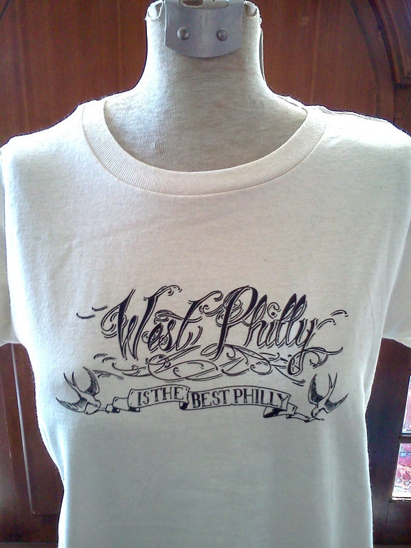 """""""West Philly is the Best Philly"""" tee, drawn by tattoo artist Justin Turkus"""