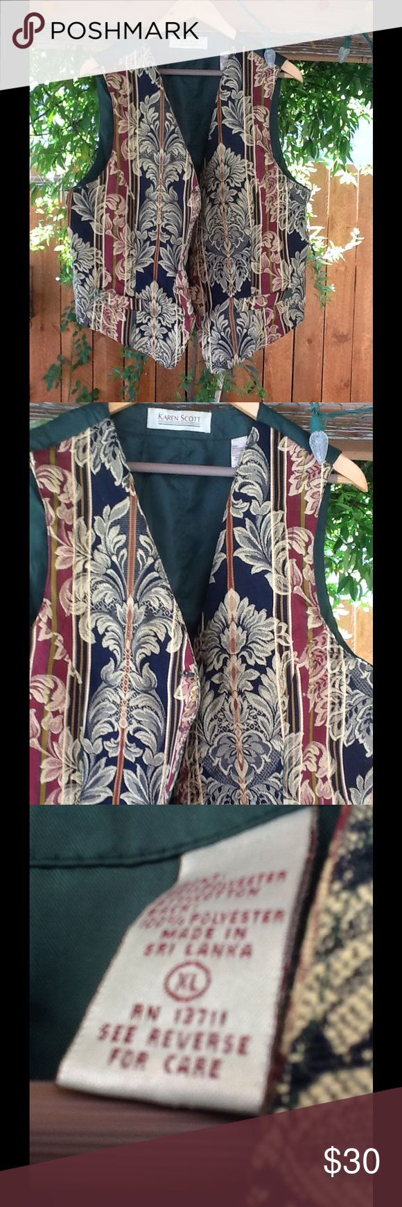 90's Vintage Floral Vest Size XL Dark Green in the back with colors of dark brown, dark blue, and gold. Size XL. (14) Karen Scott Jackets & Coats Vests