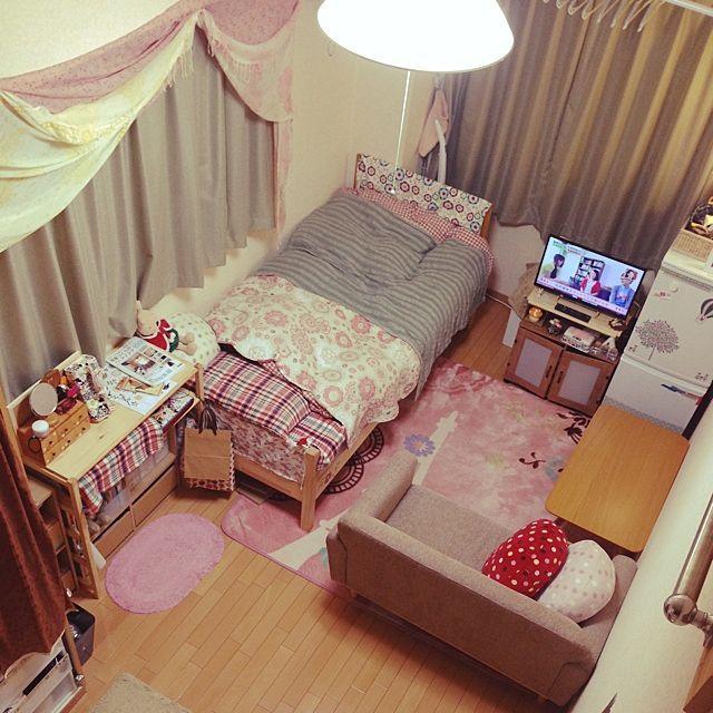 部屋全体 1k 一人暮らし 賃貸 縦長の部屋 などのインテリア実例 2014 05 27 21 19 57 Roomclip ルームクリップ ワンルームアパートのデコレーション 模様替え かわいい部屋の装飾