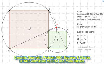 Dynamic Geometry Problem 890: Two Squares inscribed in Circles, Concurrent Lines. GeoGebra, HTML5 Animation for Tablets (iPad, Nexus). Levels: School,  College, Mathematics Education