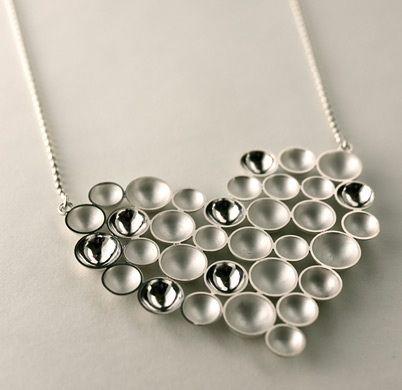 "Annaleena Soini, ""Kupliva"" (bubbly) heart silver necklace.   Annaleena Soini Follow Finland Jewelrypinterest ● facebook ● google+ ● twitter or subscribe"
