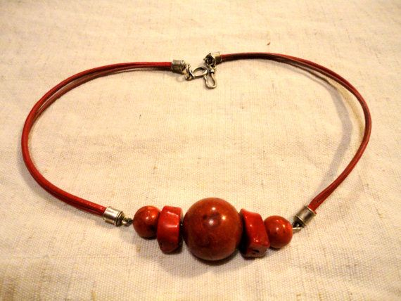 Handmade coral and red leather strap nickel-free by JolaCrafts  price: EUR 30.00.  Click here to see more.   coral jewelry // coral jewellery // handmade jewelry // handmade jewellery