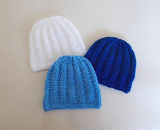 A lovely little knitted baby hat - just perfect for a newborn baby boy or girl.