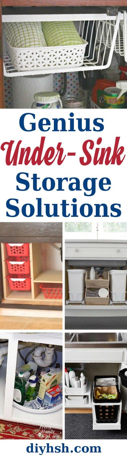 5 Genius Under-Sink Storage Solutions. #DIY #KitchenStorage  #StorageSolutions