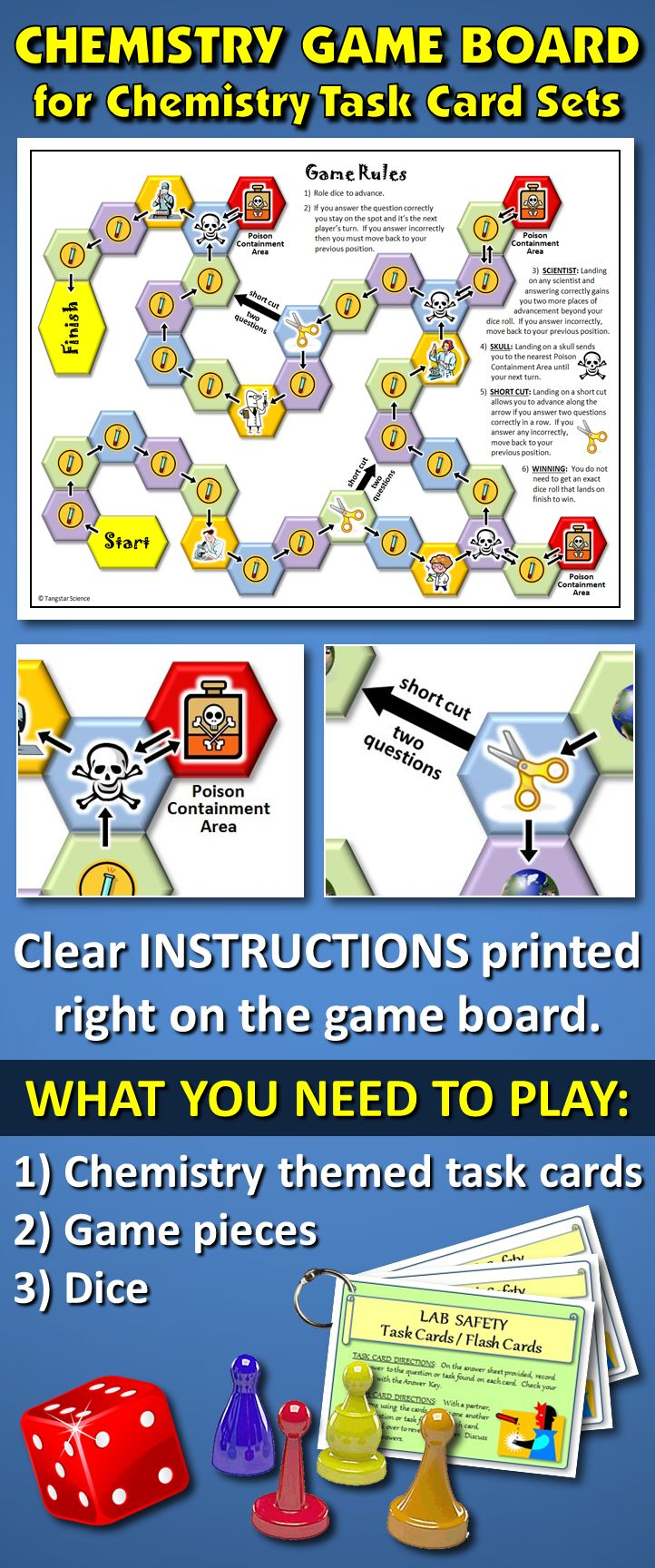 "THIS CHEMISTRY GAME BOARD ADDS VALUE TO ANY CHEMISTRY THEMED TASK CARD SET: If you've got task cards already or are thinking of buying them, getting this one (8.5"" x 11"") game board will add value and fun to the task card experience. The rules are printed right out on the board!"