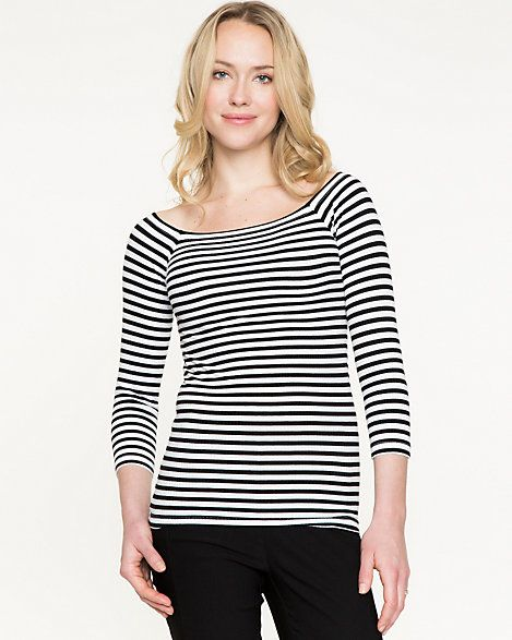 Stripe+Knit+Boat+Neck+Top