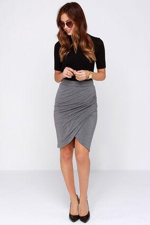 Practicing Perfection Grey Tulip Skirt