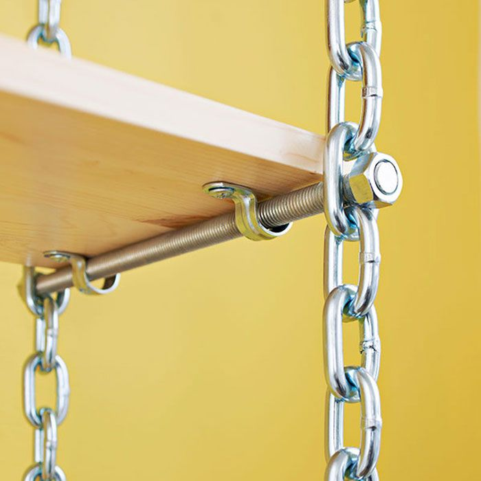 DIY: How To Create Industrial Shelving - using chain and stock lumber, you can easily create affordable storage.