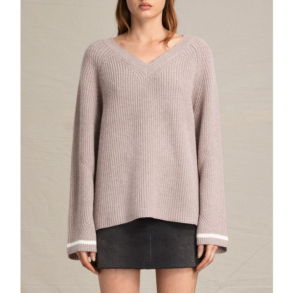 AllSaints Daria V-Neck Jumper ($98) ❤ liked on Polyvore featuring tops, sweaters, pink jumper, long sweaters, long v neck sweater, v neck sweater and long jumpers
