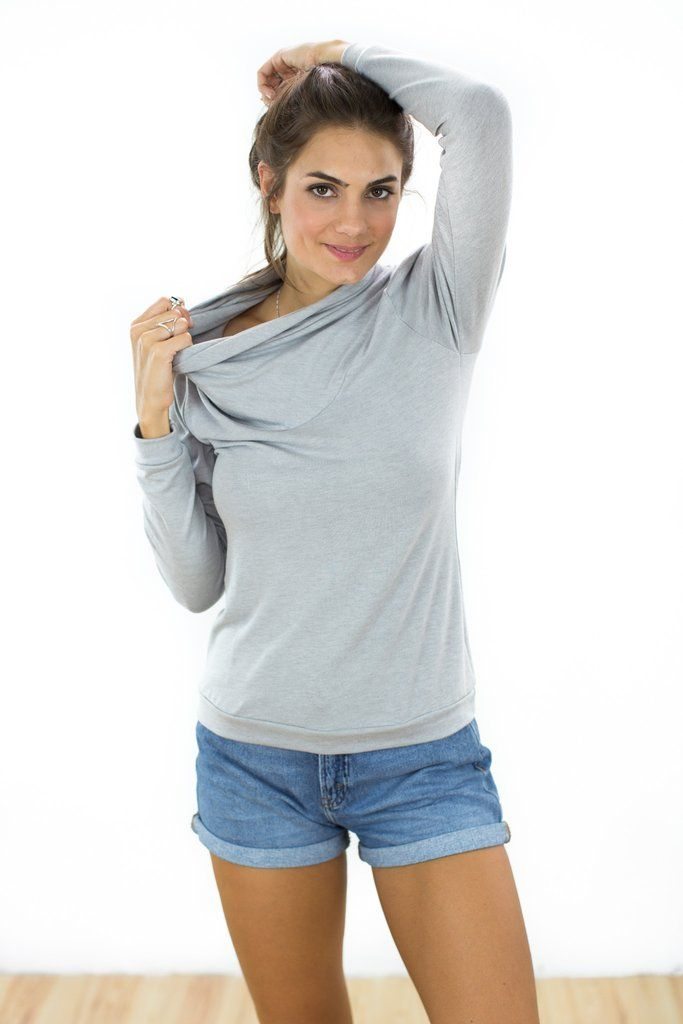 Top Amsterdam Light Gray Loose top in soft, light gray, knitted fabric. The shirt has a loose falling turtleneck and slightly gathered, long sleeves. A perfect basic  top for everyday, elegant and simple! http://shoko-shop.com/collections/new-in/products/top-amsterdan-light-gray