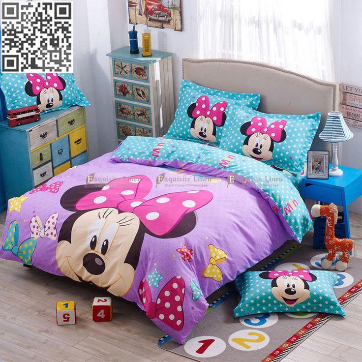 Minnie Mouse Duvet Quilt Doona Cover Set Single Double Queen Bed New Cartoon
